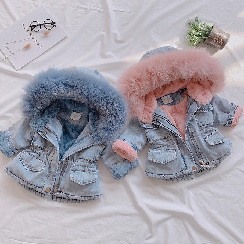 OLEKID 2020 Winter-Baby-Jeansjacke plus Samt realer Pelz-Warm-Kleinkind-Mädchen-Oberbekleidung-Mantel 1-5 Jahre Kind-Kind-Mädchen-Parka Y1113