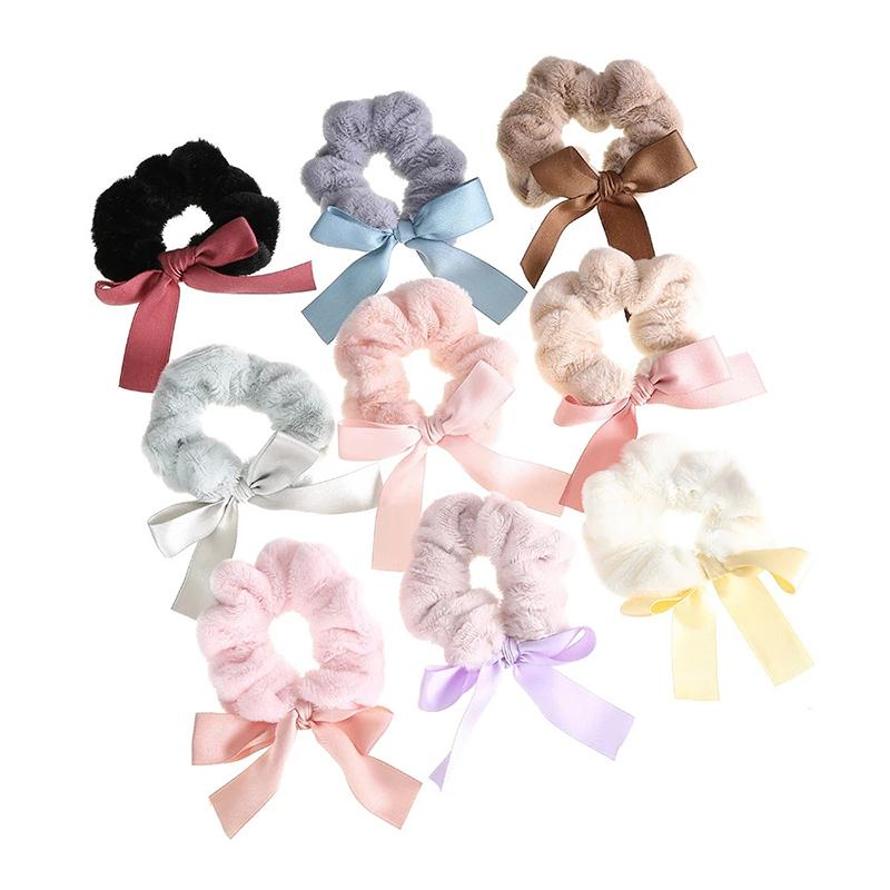 Peluche elástico Hairband Lindo Bowknot Color Sólido Anillo de pelo Hairbands Cuerdas de pelo Cuerdas de pelo Chica Ponillo de caballo Accesorios para el cabello