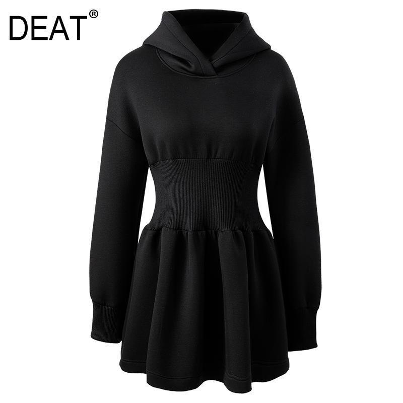 Deat 2021 nova moda primavera com capuz cintura alta a linha pulôver mangas completas preto vestido feminino vestido wo66201