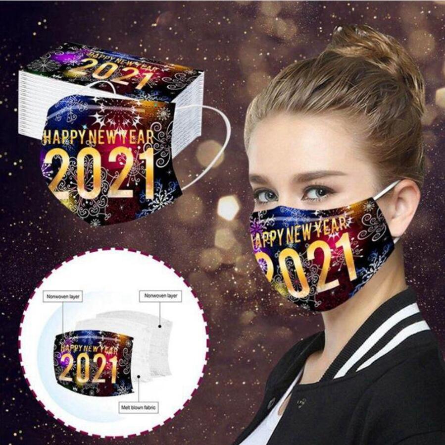 Frohes Neues Jahr-Gesichtsmasken Erwachsene Einwegmasken 2021 Drucken Mundschutz Staubdichtes atmungsaktive Schutz Maske DDA802