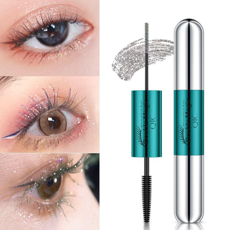 QIC 3D Cabeza doble Mascara Fibra de seda Eyelash Impermeable Duradera Fast Seco Curling Fluffy Lashes Extensión Color Negro No Cambiar