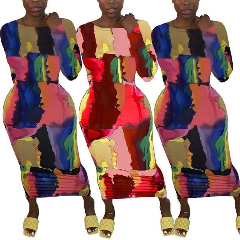 Femmes Plus Taille Suisse Jupe à manches longues Une pièce Robe imprimée Modycon Robes décontractées Sexy Mode Jupe longue Femme KLW0400