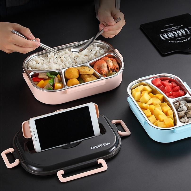 Baispo Lancheira para crianças com compartimentos 304 aço inoxidável de aço inox japonês caixa de bento microondas aquecedor de alimentos recipientes de mesa 201210