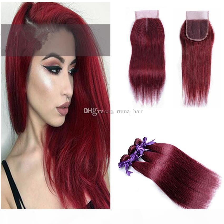 Brasileiro 99J Pré-colorido cabelo virgem cabelo humano tecer feixes retos com vinho de fechamento vermelho 3 pacotes com fecho para cabeleireiro