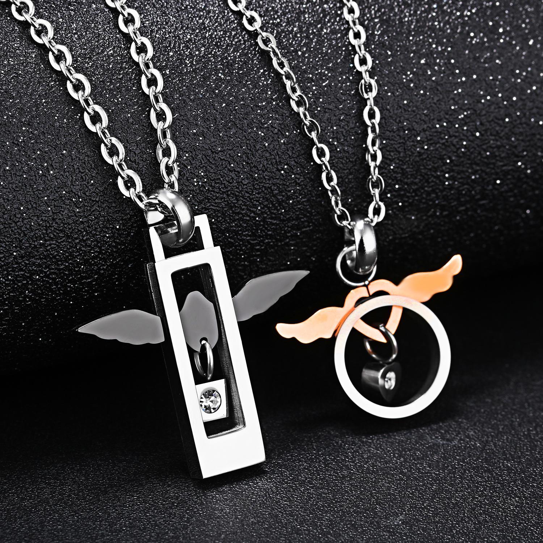 FAMI Angel Wing Paar Halskette Koreanische Persönlichkeit Anhänger Halsketten Titanium Stahl Matching Kette Mann Frau Männliche Frau