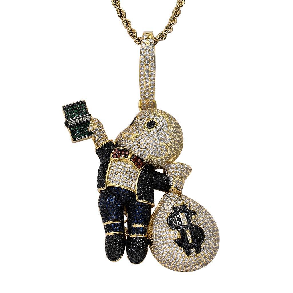 Collier de luxe Collier Mens Hip Hop Bijoux Glafe Out Pendentif Bling Bling Diamond Money Sac Sac Chaîne Gold Big Pendentifs Déclaration de mode Nouveau