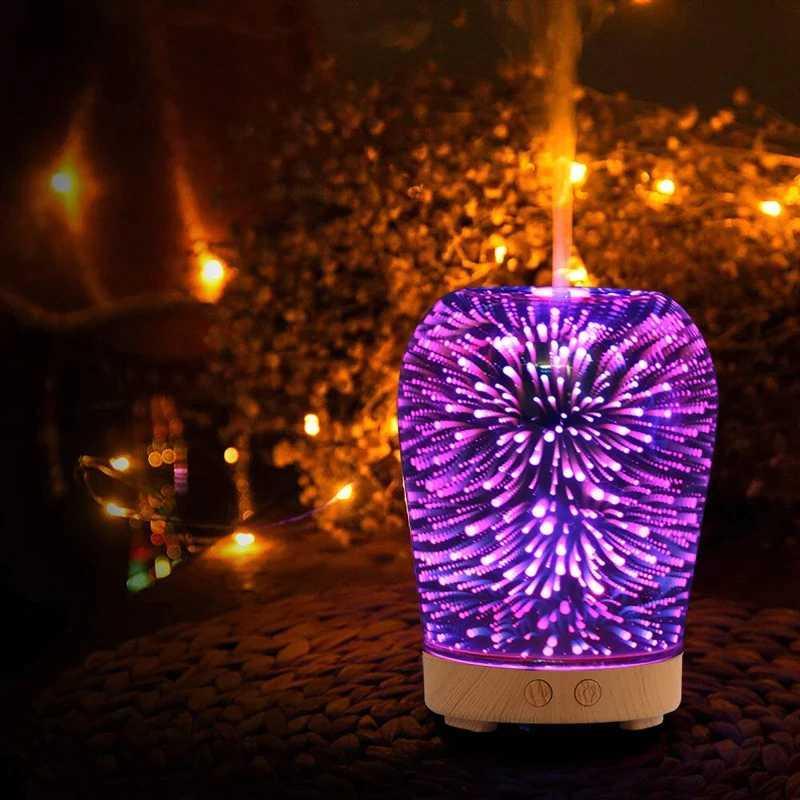 3D Mini Humidificador de Air Humidificador de Aire Aroma Difusor de aceite esencial Difusor USB Humidificador para el hogar y el automóvil con la hermosa lámpara de noche LED