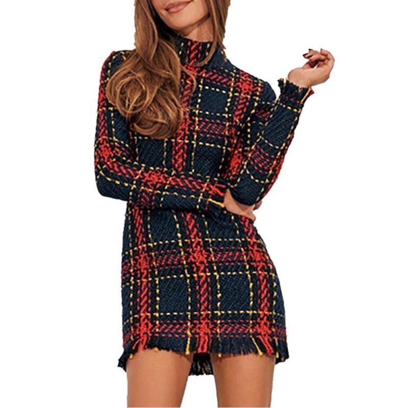 Случайные черные линии мини-платья женщины осень 2019 элегантный длинный рукав вечеринка Vestidos Streetwear F1130