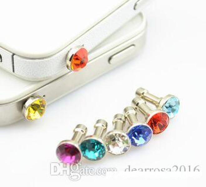 100 teile / los Mode Anti-Dust-Gadgets Luxus Telefonzubehör Kleiner Diamant-Rhinestone 3,5mm Staubstecker Kopfhörerstecker für Handys