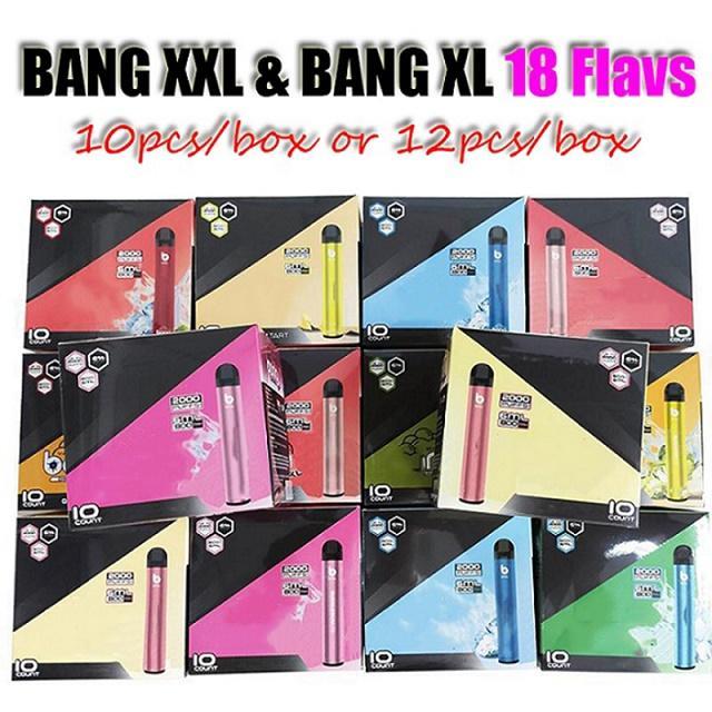 Bang XL e Bang XXL XXTRA Dispositivo Dispositivo Vape Pen 2000 Puffs 800mAh Bateria Pré-Pre-Cheio 6ml Pods Cartuchos Vapor E Cigs Vaporizador