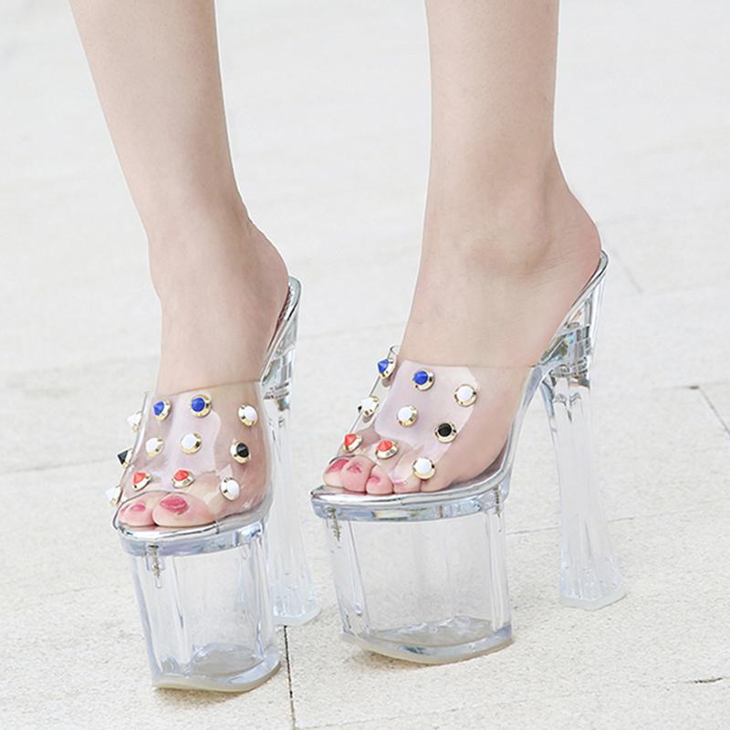 Woman proof dwaterproof water walking platform show nightclub six sandals crystal clear ladies in high heels shoes