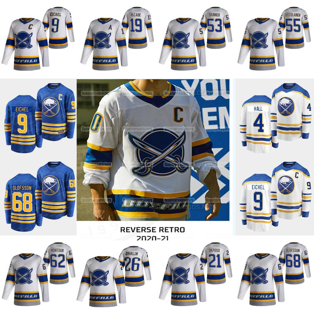 9Jack Eichel Buffalo Sabres 2021 Reverse Retro Taylor Hall Jeff Skinner Rasmus Dahlin Olofsson Kyle Okposo Ristolainen Johansson Jersey