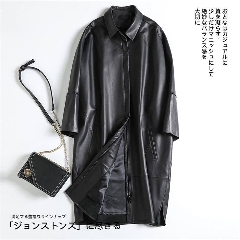 Lautaro sobredimensionado de la chaqueta de piel sintética negra de las mujeres de las mujeres de las mujeres de las mujeres de las mujeres de la moda de las mujeres de la moda de la moda 2020 Plus Talla larga abrigo de cuero LJ201021
