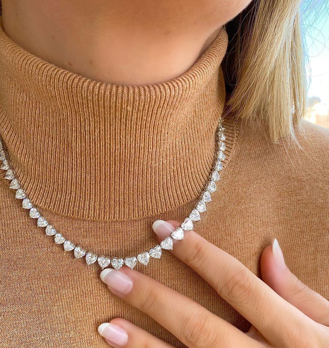 High quality 5A shape CZ iced out bling heart tennis necklace for women girlfriend valentine's gift fashion jewelry Q1121