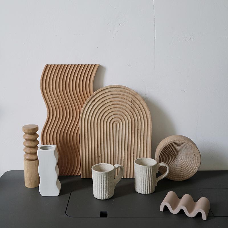 Beech de madeira desbastando o pão de sobremesa bandeja espiral mesa de corte organizador ferramenta de cozinha para bolos