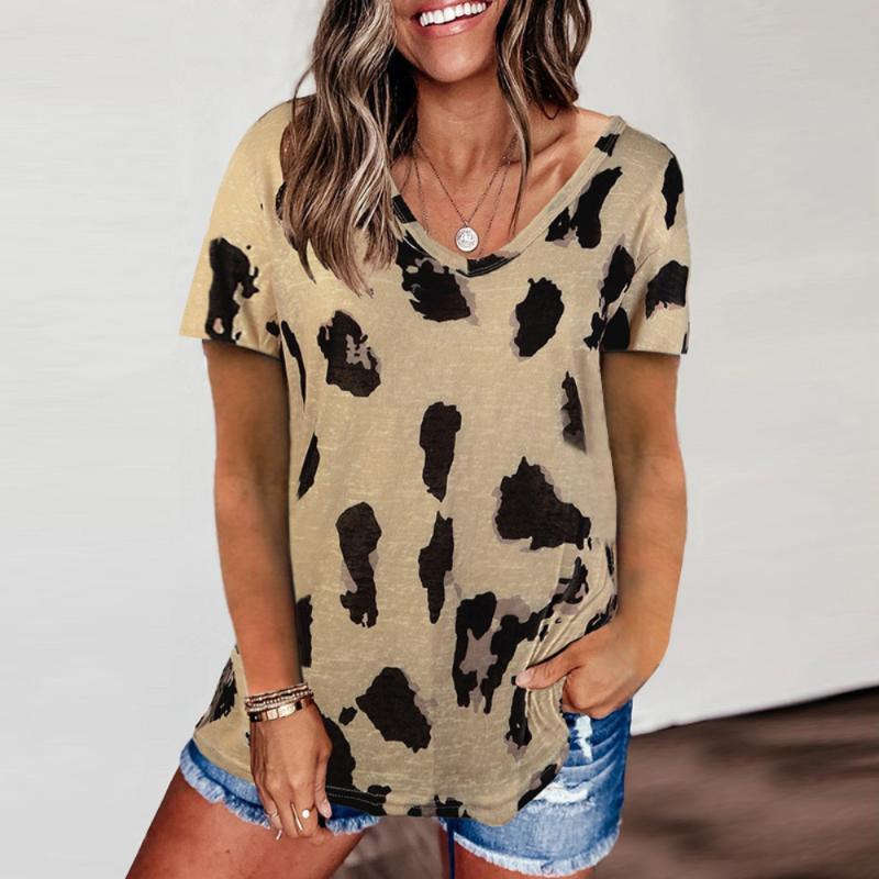 Kadın T-Shirt Leopar V Boyun Kısa Kollu Kadın Tişörtleri Gevşek Üst Kadın Rahat Yumuşak Tops Tee Gömlek Kadın Artı Boyutu Blusas Femininas Üzerinde