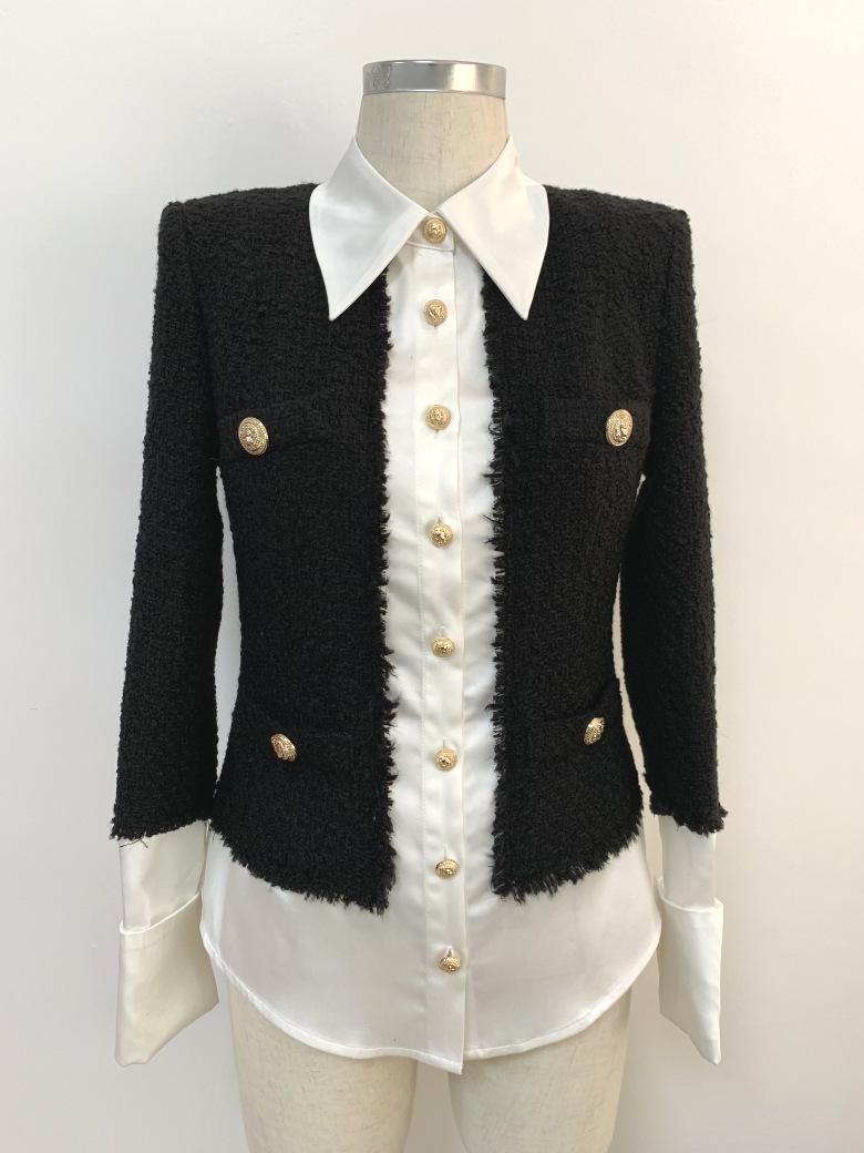 1112 XL 2020 Spedizione gratuita Cappotto autunno cappotto nero a maniche lunghe a maniche lunghe collo collo moda vestiti da donna OuLai
