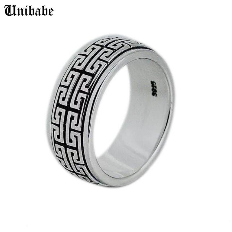 Echt Silber Ring 925 Sterling Silber Männer Frauen S925 Drehen Vintage Schmuck Geschenk Great Mauer Bewegliche S925 Band LJ200828