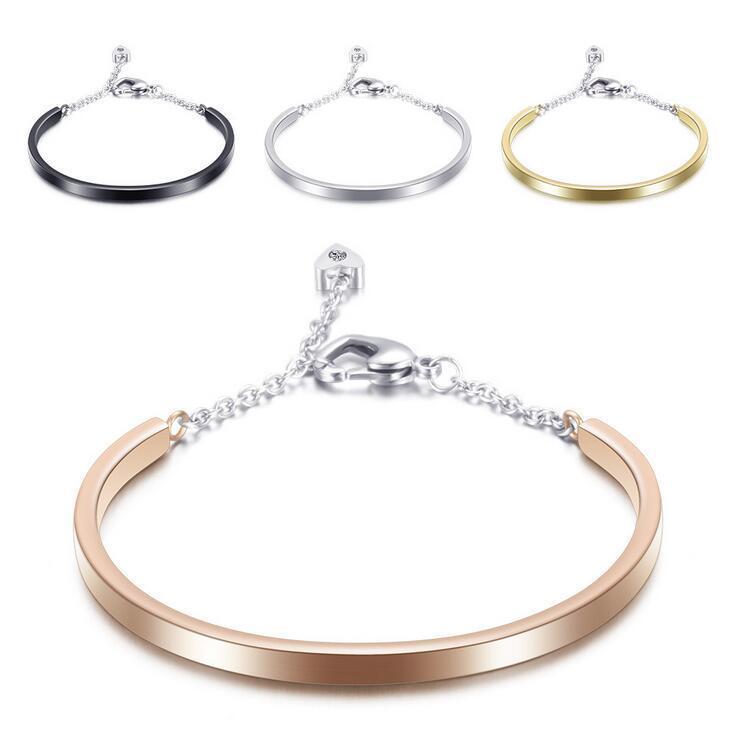 Fashion Gold Color Silver Color Stainless Steel Crystal Bangels Bracelets for women Chains Bracelets