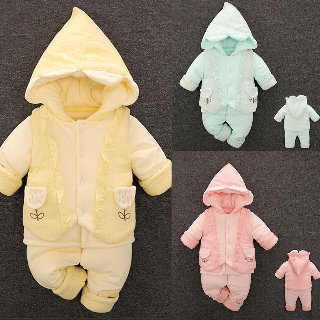 JAYCOSIN Newborn Toddler Baby Pure Color Cotton-padded Clothes Hooded Romper Baby Boy Girl Clothes Y1113