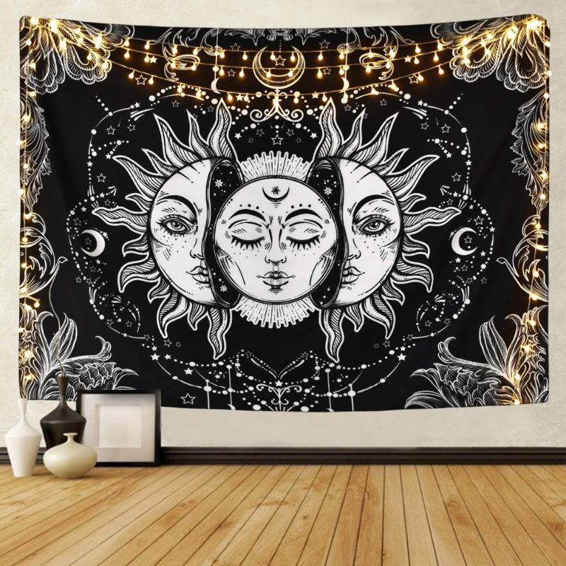 قماش أبيض أسود الشمس مون ماندالا نسيج الجدار شنقا السماوية الهبي السجاد النوم ديكور