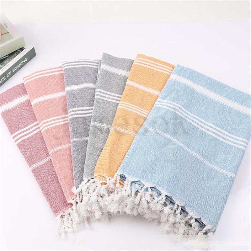 Toalhas turcas coloridas de toalhas listrado toalhas de banho de algodão toalhas de banho de presentes ginástica ginástica ioga toalha de praia toalete suprimentos 100x180cm dc675