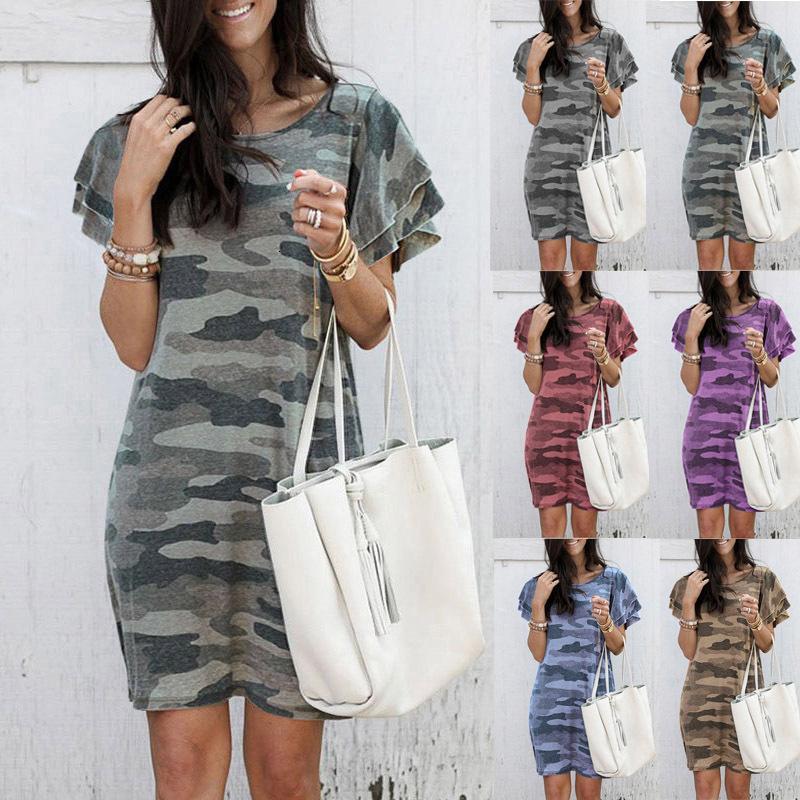 2020 Verão Novas Mulheres Redondo Pescoço Camuflagem Impressão de Manga Curta Vestido Solto