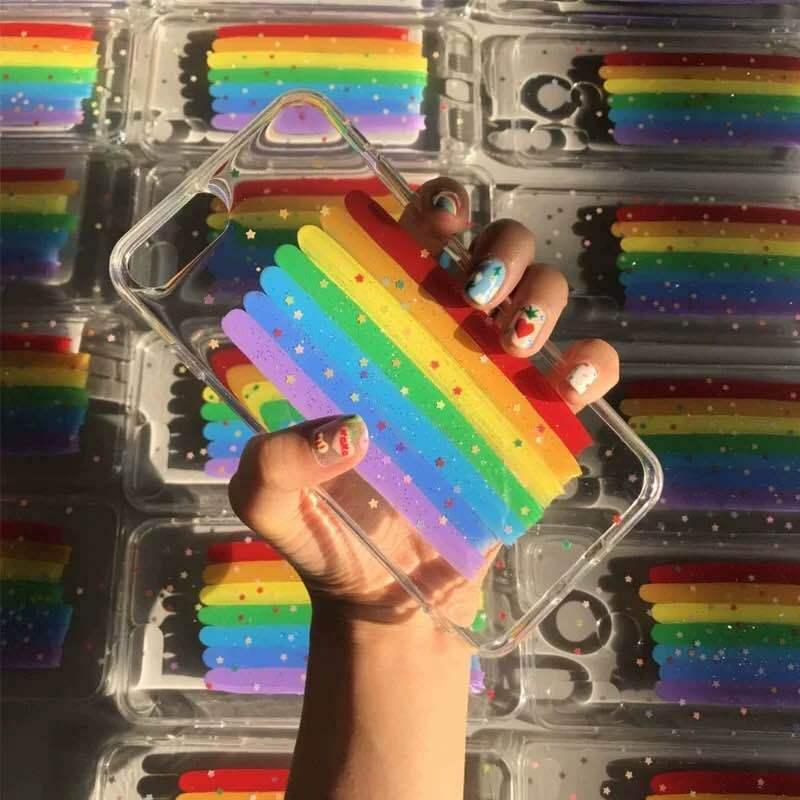 Glue Hot Glitter Stars Rainbow Stripes Funda de silicona Funda de silicona a prueba de caídas para iPhone 12 Mini 11 Pro Max XS Max Soft Shell