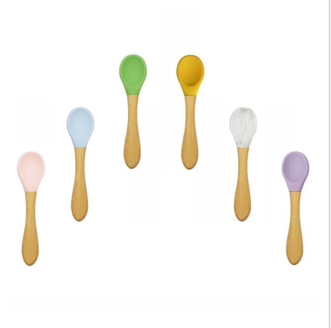 Enfants Silicone Spoons Soupe à haute température Soupe à soupe Louche Bambou Poignée De Riz Cuillère Riz Scoop Creative Cuisine Outils HWB3508