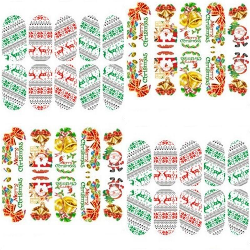 Pegatina de uñas de Navidad Tipo Multi Tipo Festival Pegatinas de uñas Elk Santa Claus Muñeco de nieve Modelo lindo Patrón Para Mujer Manicuras Tarquías Nuevo 1OT L2