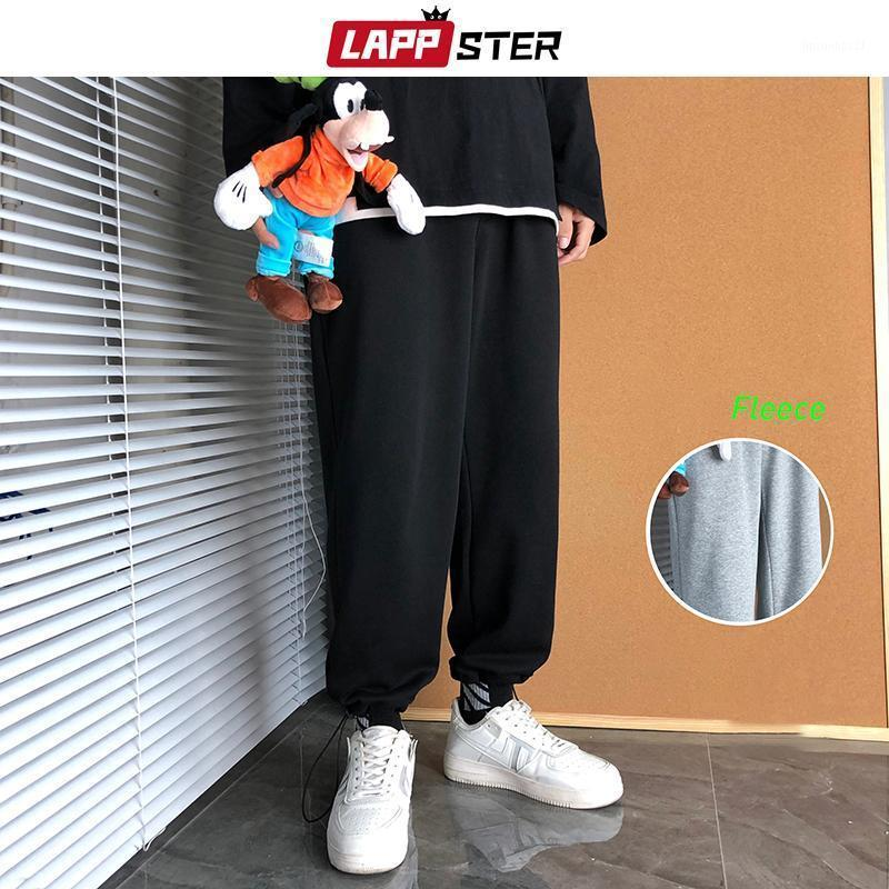 Pantalons pour hommes Lappster Hommes Harajuku Joggers Joggers Pantalon Polaire 2021 Hiver Mens Coréen Fashions Black Sweat Streetwear Streetwear Pants1