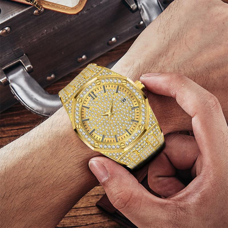 Homme de première qualité Montre de luxe de luxe Octagonale Design Strass Voir la personnalité Diamond imperméable en acier inoxydable