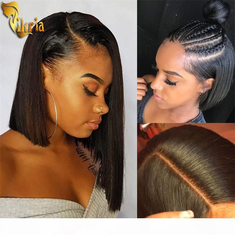 Brezilyalı Düz Kısa Bob Peruk Tam Dantel İnsan Saç Peruk 13x4 Dantel Ön Peruk Bebek Saç Ile 130% ~ 150% Yoğunluk Siyah Kadınlar için 8 ~ 14 inç