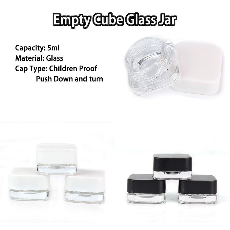 Concentrato Bottiglie di imballaggio Bambino resistente ai bambini 5ml Clear cubo di vetro tappa olio di cera con cappuccio nero o bianco