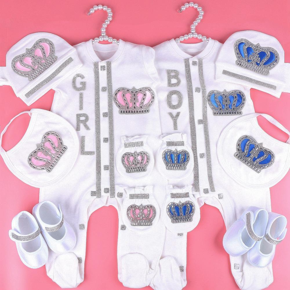0-3 Mes NewBron Baby Girl Ropa Set Blanco Color Algodón Body con Rhinestone Crown Crystal Baby Body Baby Cloth 201216