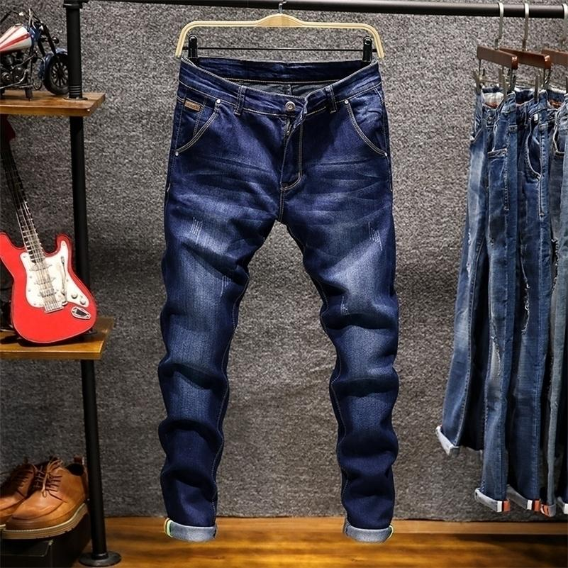Spring Autu New Men's Elastic Cotton Stretch Jeans Pants Loose Fit Denim Trousers Men's Brand Fashion Wear and washed jean pants 201111
