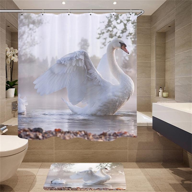 Высококачественные принадлежности для мебели Цифровая печать 3D моделирование животных образец душевой занавес лебедь ткань душевая занавес LJ201130