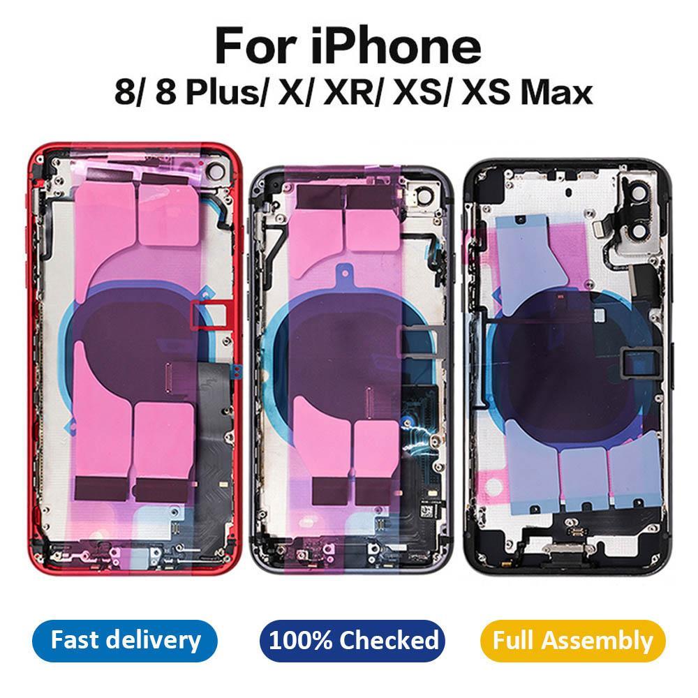 OEM Kalite iPhone 8 için 8 Artı X XR XS Max Tam Konut Orta Çerçeve Şasi Arka Kapak Cam Flex Kablo Parçaları Montaj ile