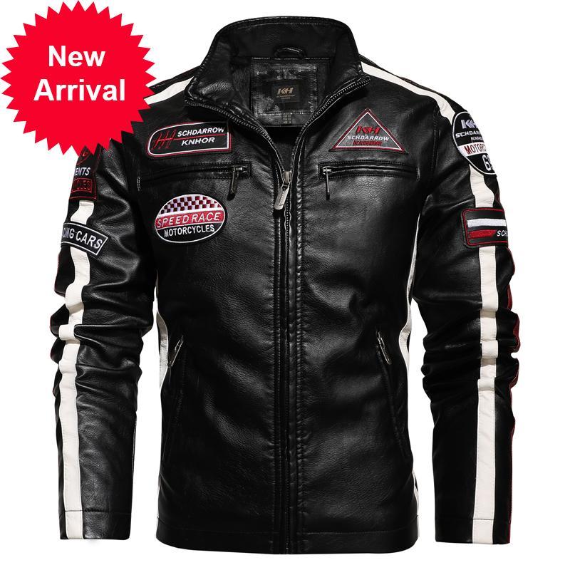 Осень зима большого размера мужская PU мотоцикл гоночный костюм цветной блок пэчворк пятно плюс бархатная кожаная куртка мужчины 4xL
