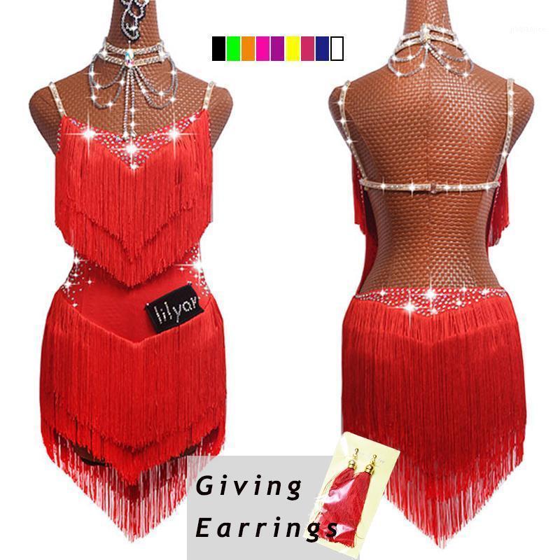 Носите сцену 2021 Лучшие продажи Латинские танцевальные платья для женщин Черный кружевной клуб Party Party Dancer Singer Actioner Bringe Tassel платье DM10341