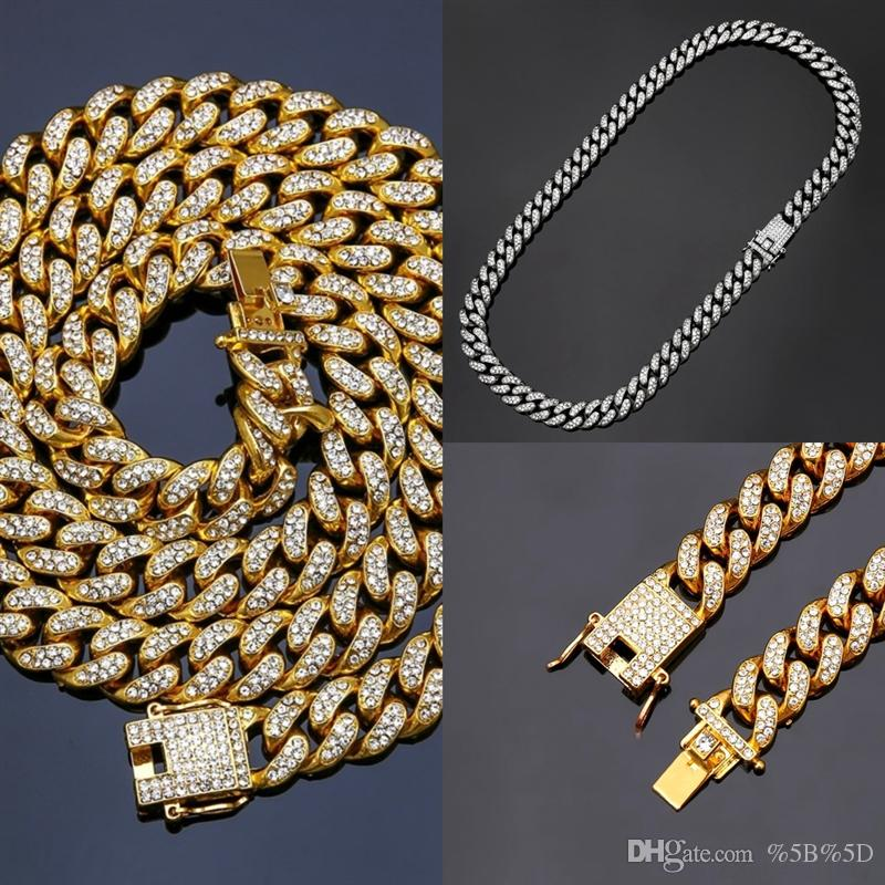 bpn New Color Cuban For Chains Necklace man s neckla Fashion Hiphop Jewelry Iced Rhinestones Row Out Necklaces