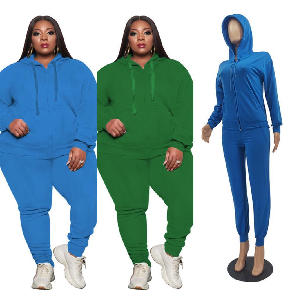 M-3XL Artı Boyutu Kadın Eşofman Uzun Kollu Hoodies Fermuar Sweatershirt + Legging Pantolon İki Parçalı Suit Giyim Kıyafetleri Rahat Giysileri G11806