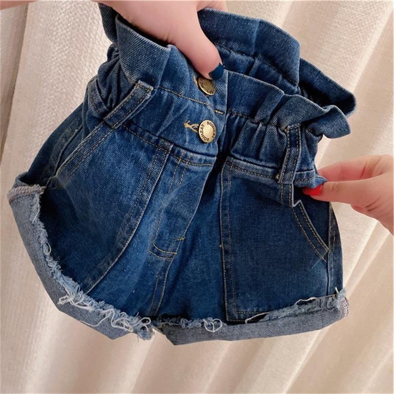 2020 데님 키즈 바지 여름 프릴 하이 허리 진 반바지 포켓 소녀 버튼 탄성 술 어린이 카우보이 바지 패션 블루 22HH G2