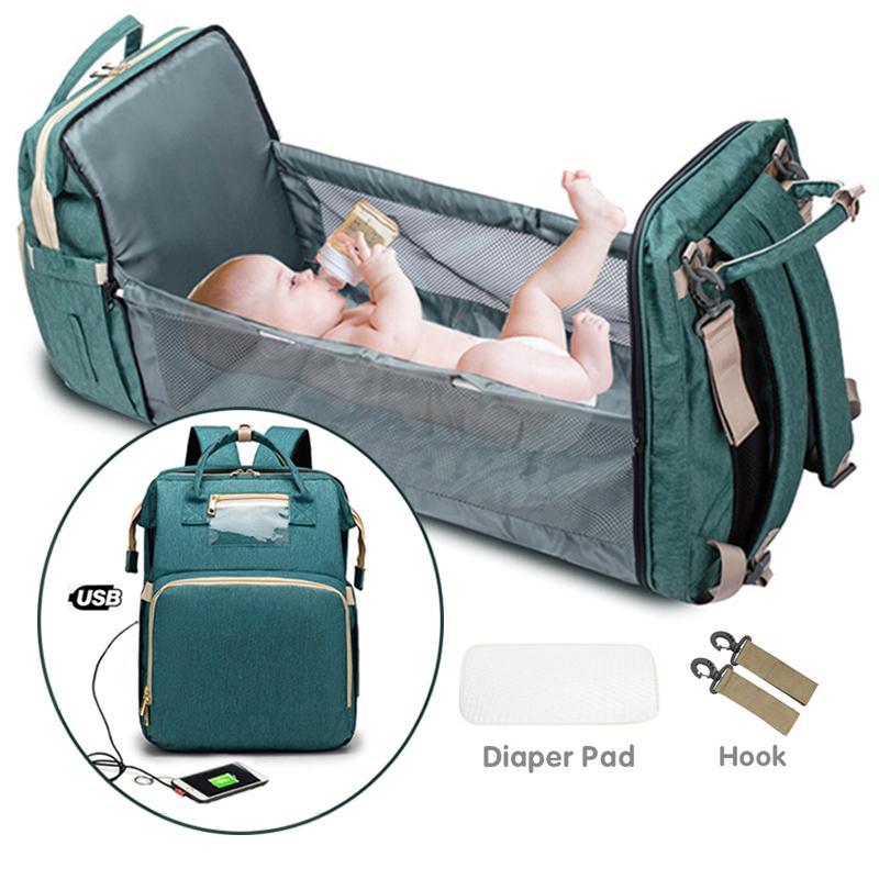 USB складная портативная детская кроватка мамочка сумка 2-в-1 многофункциональный рюкзак мешок для подгузников кроватки мама рюкзак водонепроницаемый lj201013