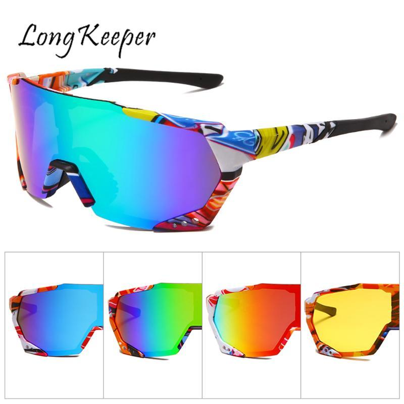 Longkeeper Fashion Mirror Sport Sunglasses Men One Piece Oversized Sun Glasses Women Flat Top Driving Glasses Oculos Masculino