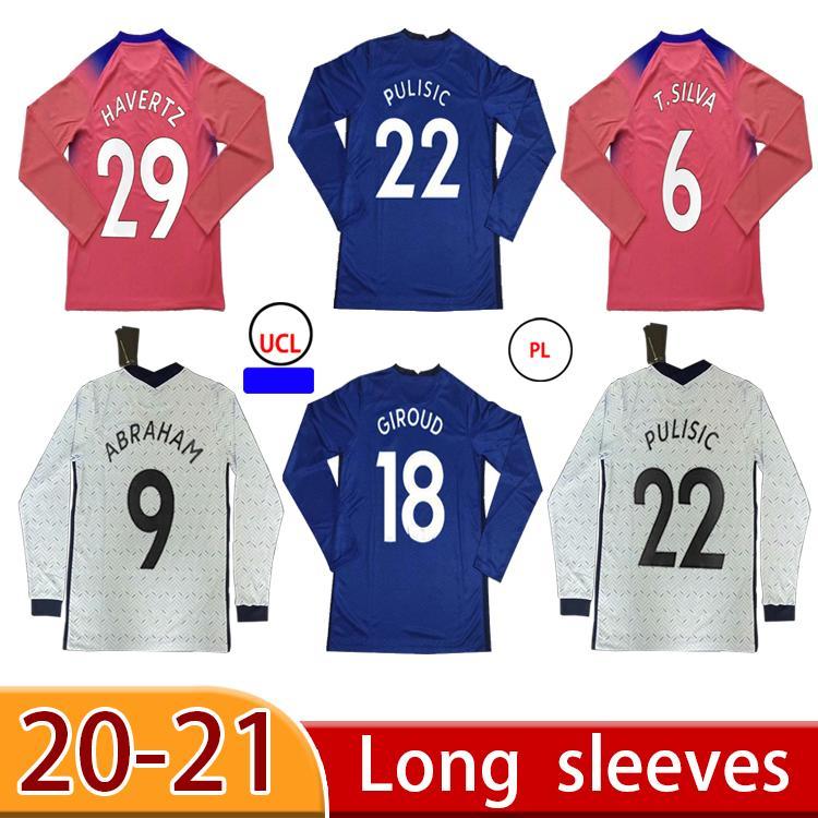 20 21 Jerseys de fútbol pulisico de manga larga Kante Werner Ziyech Jersey Marcos A. Camisa Inicio Abraham Chiilwell Mens Kit Kit Camisa de fútbol