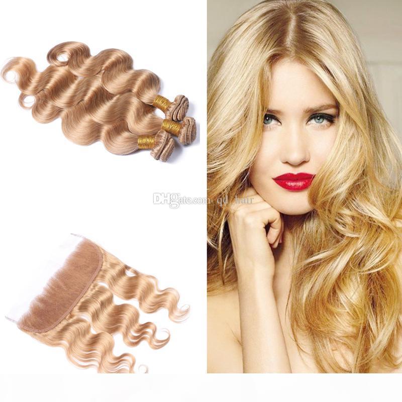 Медовая блондинка 27 Бразильские девственницы человеческие пакеты волос с фронтальным закрытием Волна для волос для волос с ухом для уха на первое место 4 шт.