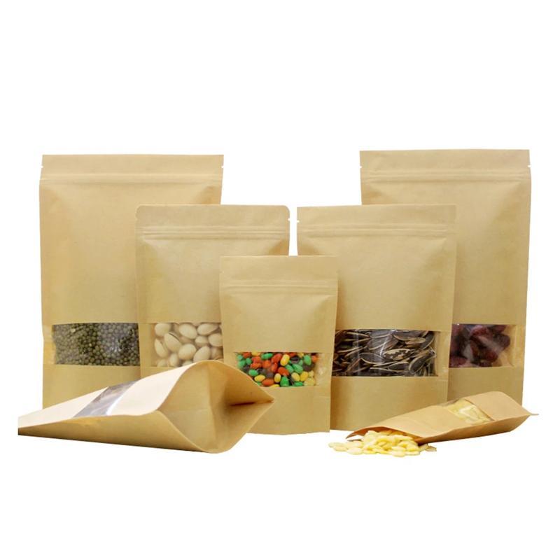 Sacos de papel kraft com janela clara lobo calor zip bloqueio saco de empacotamento levantar bolsas para alimentos nozes grãos de embalagem de chá