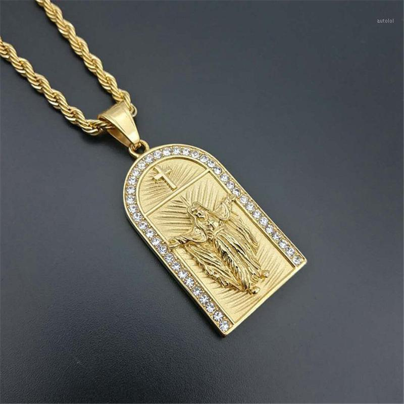 Hip Hop Iced Out Cross Jesus Colares Pingentes Cor de Ouro Corrente de Aço Inoxidável para Mulheres / Homens Christian Jewelry Crucifix XL12241