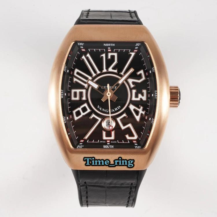 ABF Top Version V 45 SC DT черный циферблат Rose Gold Steel Case ETA2824 Автоматическое механическое движение Мужские Часы Черный Кожаный Ремешок Спортивные Часы